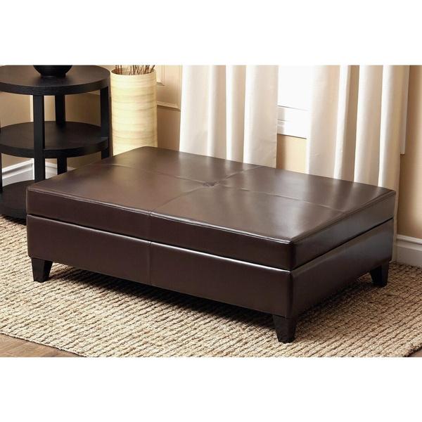Awe Inspiring Abbyson Frankfurt Leather Flip Top Storage Ottoman Andrewgaddart Wooden Chair Designs For Living Room Andrewgaddartcom