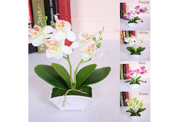 Artificial Butterfly Orchid Silk Flower Bouquet Phalaenopsis Wedding Home Decor YAN