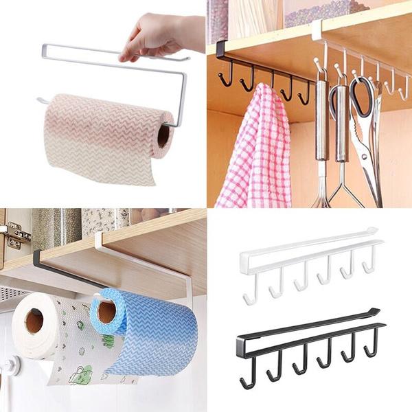 Oakeer Under Cabinet Paper Towel Holder Roll Rack Multifunctional Metal Organizer Black White