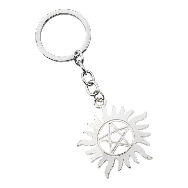 ALWAYS KEEP FIGHTING Supernatural Protection Sigil Keyring Devil's Trap  Pentagram Car Pendant Encourage Amulet Fashion