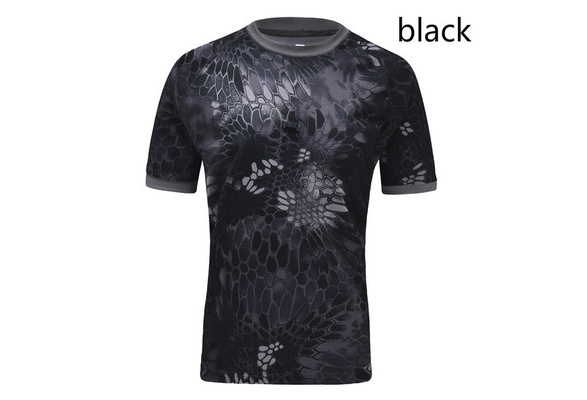 Mens Fashion Short Sleeve Camouflage T-shirt Men Breathable Tactical Combat Army T-Shirt Military Quick Dry Camo Tee