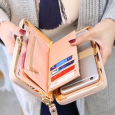 leather wallet, Fashion, Capacity, buttonclutchpurse