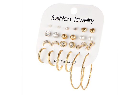 Exquisite Crystal Pearl Heart Moon Infinity Silver Stud Earring Set Lady Goldplated Hoop Earrings Accessories For Women