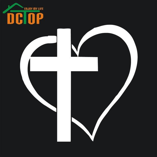 Wish Cross Heart Jesus God Heart Love Vinyl Decal Sticker Car