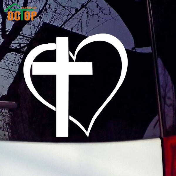 Cross Heart Jesus God Heart Love Vinyl Decal Sticker Car Window Bumper Religious Symbol Waterproof Window Stickers