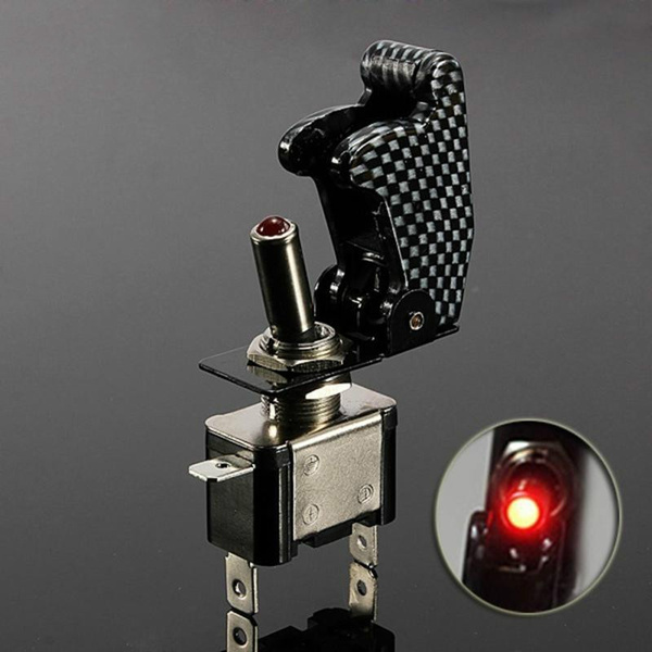 12V 20A Red illuminated LED Toggle Switch Control ON/OFF + Aircraft Missile  Style Flip Up Cover