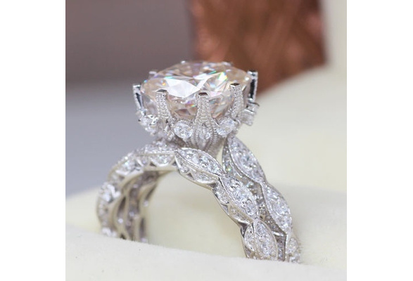 Antique Style 4.19ct Round White Sapphire 925 Solid Sterling Silver Wedding Engagement Crown Ring Set