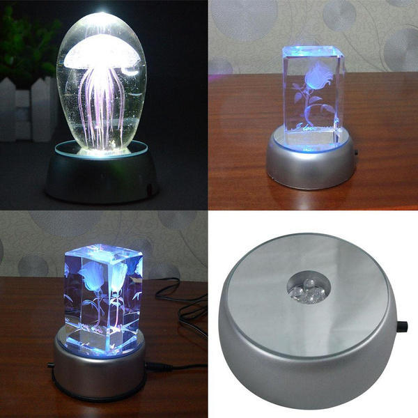 White LED Light Round Stand Base Laser Trophy Battery Electric for 3D  Crystal Glass Figurine Display