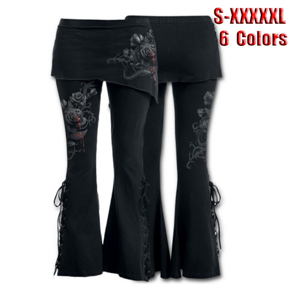19d0703c4e6d0 Women 2 in 1 Boot Cut Leggings with Micro Slant Skirt Gothic Punk ...