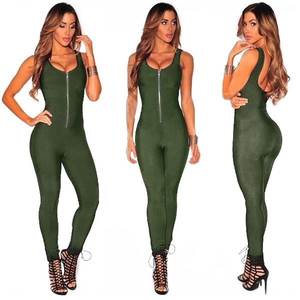 Picture of Women Ladies Clubwear V Neck Front Zipper Playsuit Bodycon Party Jumpsuit Romper Trousers 5 Colors