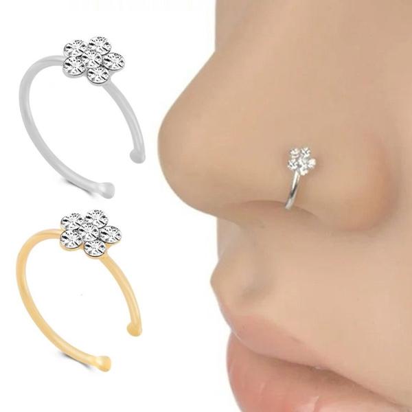 1pcs Crystal Rhinestone Plum Blossom Flower Nose Hoop Stud Nose