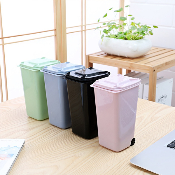 Small Plastic Garbage Bin Mini Plastic Trash Can Creative Plastic Tabletop  Flip Bucket Plastic Pen Container