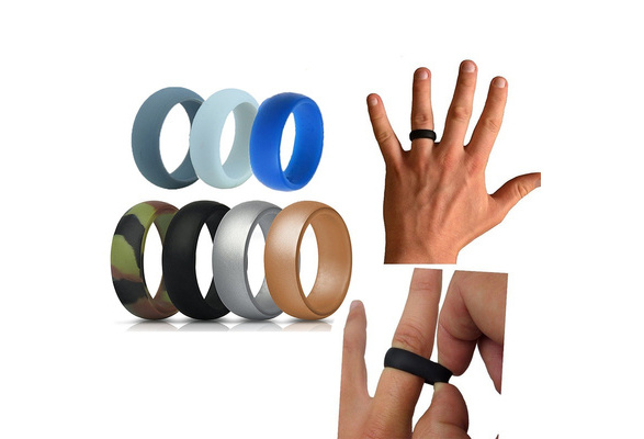 7pcs Silicone Wedding Band Rings Men Women Flexible Hypoallergenic Rubber Ring