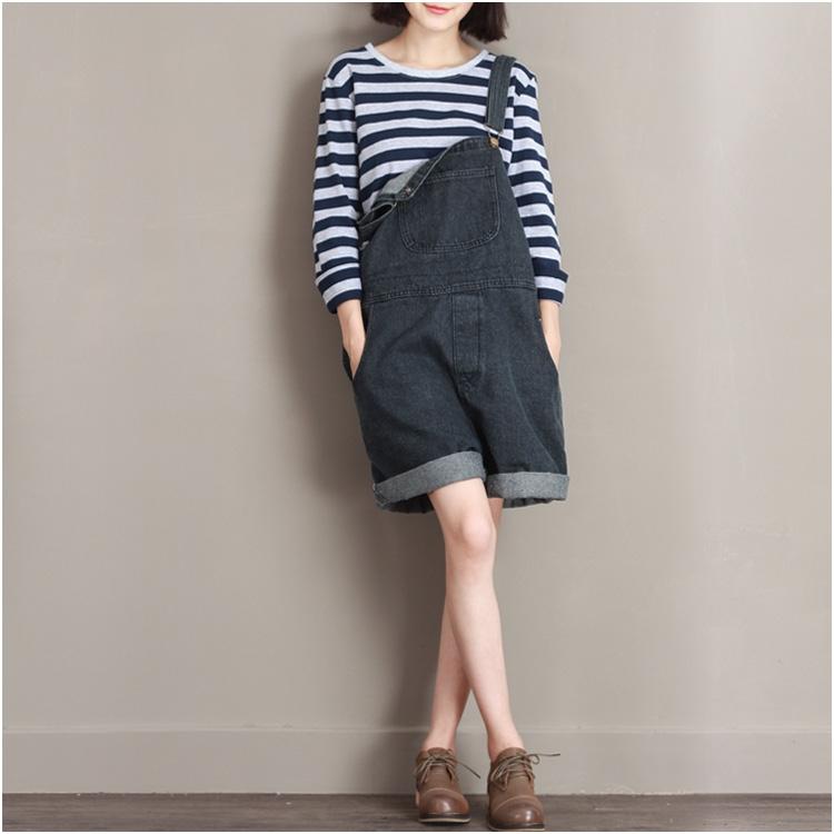 damen harem overall denim riemen kurz jeans hose baggy locker bf latzhose neu ebay. Black Bedroom Furniture Sets. Home Design Ideas