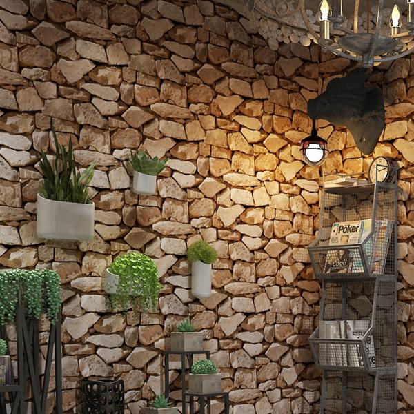 3d Vintage Retro Stone Textured Slate Brick Wallpaper Wall Sticker Pvc Roll Tv Background Bedroom Living Room Home Bar Cafe Decor 10m