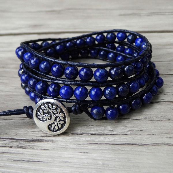 Blue Lapis Lazuli Beads Bracelet Navy Wrap Gemstone Gypsy Yoga