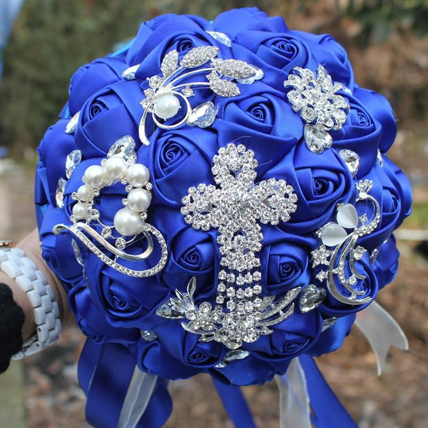 Wish | Pop Bride Flower Bouquet Royal Blue Brooch Wedding Bouquet de ...