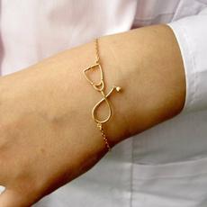 Fashion, Jewelry, Medical, goldenstethoscopebracelet