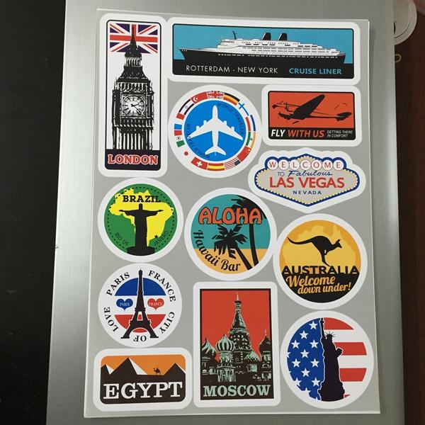 Vintage Style Travel Suitcase Luggage Labels Famous Scenic Spots Sydney London Japan Bon Voyage Egypt Brazil Paris Vintage Sticker On Laptop Tablet