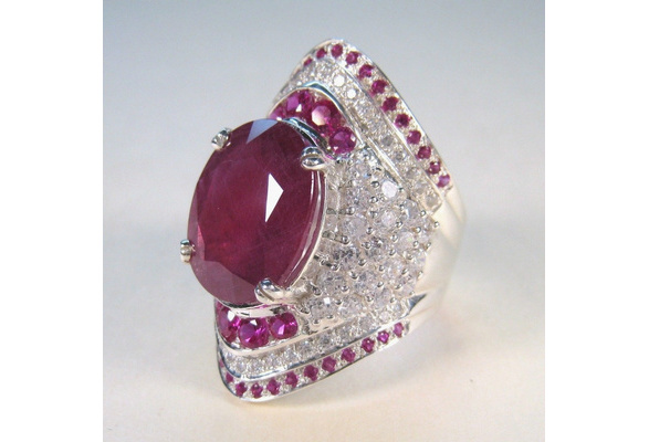 Natural Ruby Gemstone 925 Sterling Silver Wedding Engagement Ring Women's Jewelry Gifts