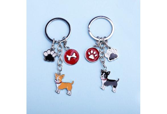 Wish I Love Heart Chihuahua Keychain Pet Keyring Dog Keychain