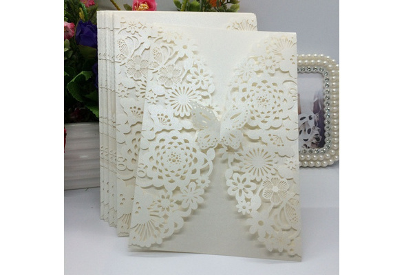 10Pcs/Set Delicate Carved Butterflies Romantic Wedding Party Invitation Card Envelope Invitations for Wedding/Business/Party/Birthday