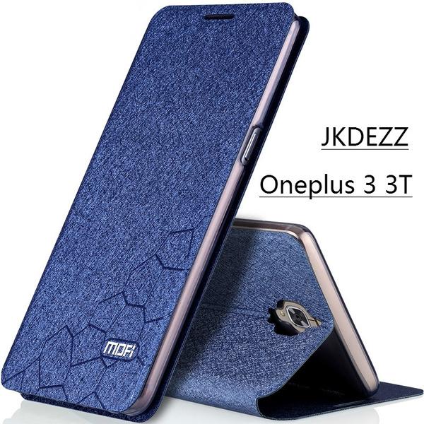 buy popular 8032e 9b69b Oneplus 3 Case Flip Leather Mofi Cover Original One Plus 3T Case Oneplus  5.5 Back Silicon Coque Oneplus 3 Accessories Hoesje