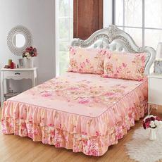 pink, Flowers, ruffled, pillowcaseset
