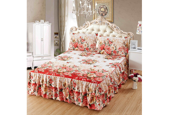Flower Pattern Beige Brushed Microfiber Ruffled Bed Skirt & 2 Pillowcases Set, Twin/Full/Queen/King Size