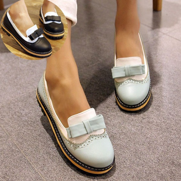 Fashion Party Shoes Spring Summer Women Round Toe Platform Flat Shoes with  Bow (Size 34,42 ColorBlack,Pink,Blue)