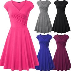Plus Size, short sleeve dress, pleated dress, Dress