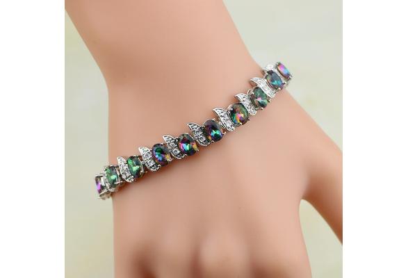 Mystic Rainbow Fire Created Topaz 925 Silver Bracelet Charm For Women