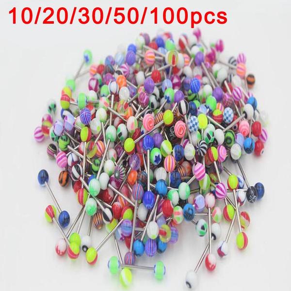 30PCS cosmétique coloré en Acier Inoxydable Boule Barbell Tongue Rings Bars piercing