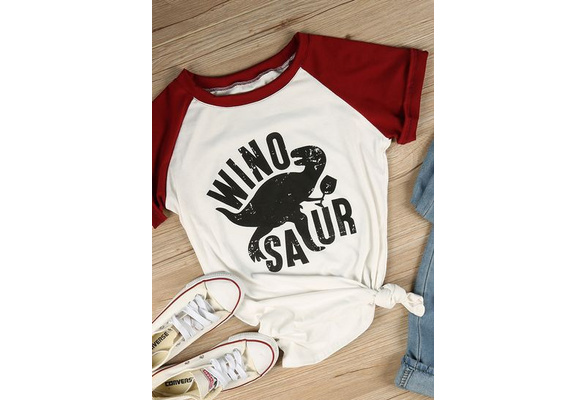 Women Casual Winosaur Dinosaur Printing Tops Cotton T-shirts