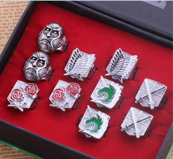 Anime Attack on Titan Finger Ring Scouting Legion Logo Metal Cosplay Props Gift
