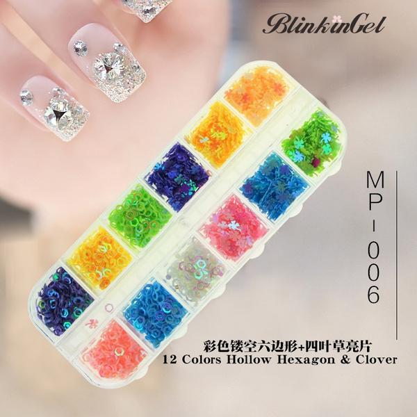 Wish Blinkingel Shiny 12 Color Acrylic Nail Art Christmas Glitter