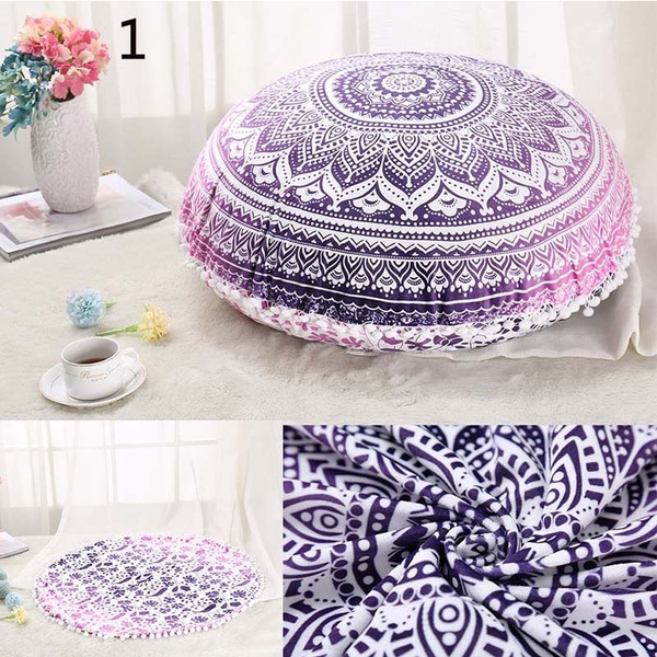 Wish Colorful Western Style Mandala Floor Ottoman Round Bohemian