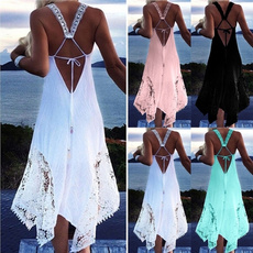 sleeveless, halter dress, beachasymmetricaldre, Dresses