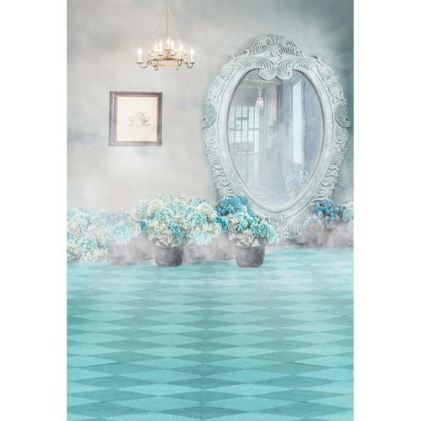 Wish 5 7 Ft Dressing Mirror Smoky Wall Blue Floor Background Vinyl Photography Backdrop Cm 5816