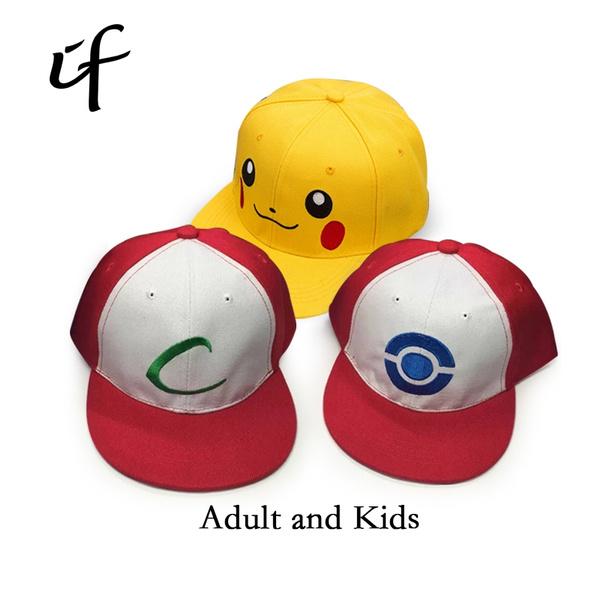 7d3f29d4b8c62 Kids Adult Pokemon Go Cosplay Cap Drake Hip Hop Pikachu Pocket Monster Bone Dad  Hat Baseball Caps Charms Ash Ketchum Casquette