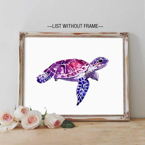 Sea Turtle Wall Art Print Watercolor Ocean Poster Sea Marine Life Animal  Kids Bedroom Decor Nursery Sea Turtle Artwork Gift