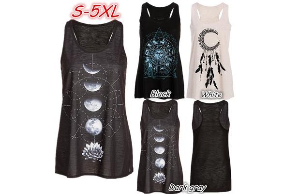 Women's Fashion Sleeveless O-neck Moon Print Tank Top Plus Size Cotton Vest WZG2739