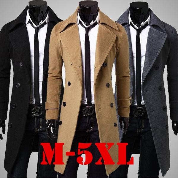 7761ed685e24 Fashion Men's Casual Cashmere Trench Coat Winter Long Jacket Double ...