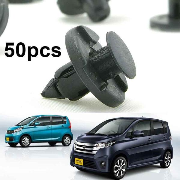 50pcs Push Type Bumper Fender Rivet Mud Flap Retainer Clips Fastener for Nissan
