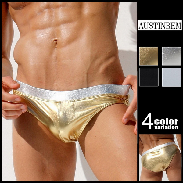 String Zwembroek.Austinbem Swimsuit Men Swimwear Sunga Zwembroek Heren Metallic Gold