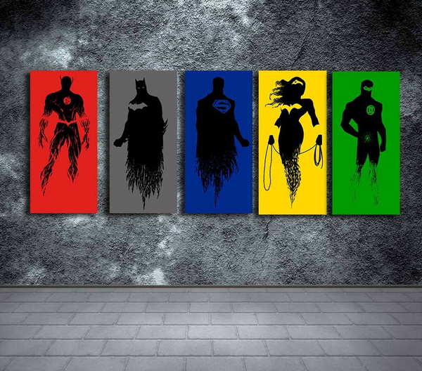 Wish | Justice League 5 Panel Canvas, Living Room Wall Art, Wall ...