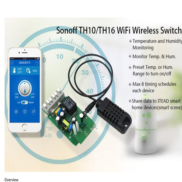 Sonoff TH16 16A Smart Wifi Switch Temperature /& Humidity Monitoring Remote  ES