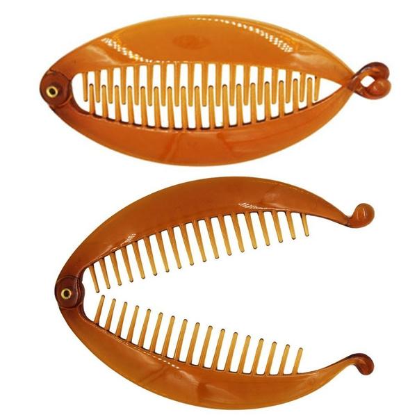 Headdress Banana Shape Ponytail Holder Fishtail Clip Hairpin Hair Comb Clip
