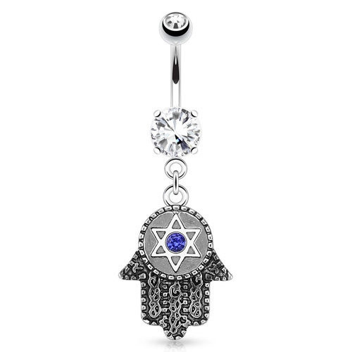 Jewish Hamsa Hand Evil Eye Hexagram C Z Charm Dangling Belly Ring 14g