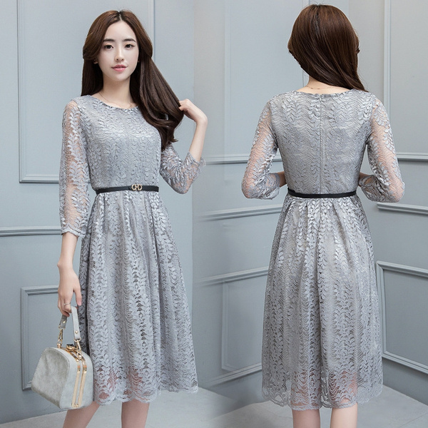 New Spring And Summer Plus Size Korean Dress Slim Fit Was Thin Loose Waist Lace Dress